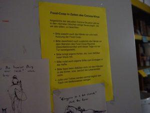 Regeln für die Benutzung der Food-Coop unter Corona-Bedingungen