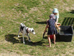 2 Mädchen mit Hund an der Leine