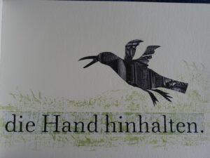 Vers 4 die Hand hinhalten