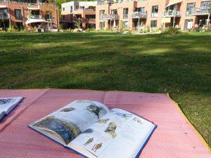 Entdeckerbuch auf Decke mit Blick auf LeNa-Häuser
